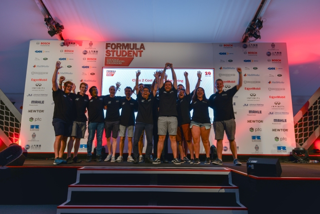 The whole Class 2 team on stage