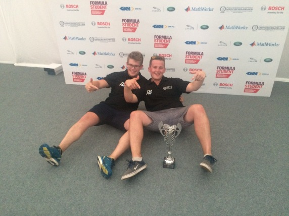 Oliver and Sam celebrating